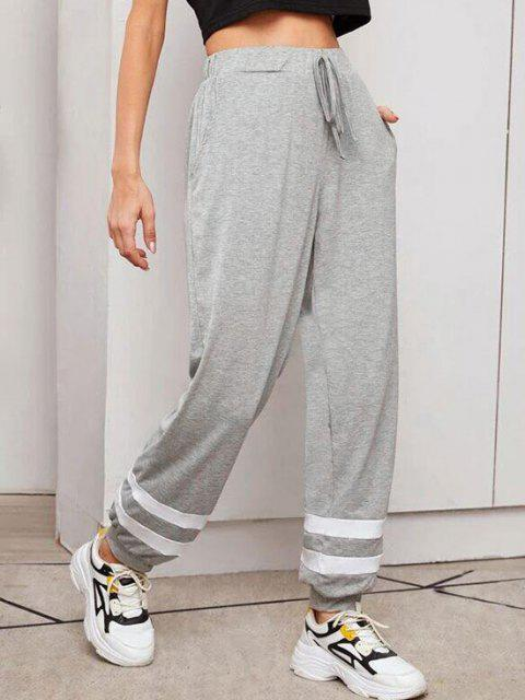 women Contrast Drawstring Jogger Pants - DARK GRAY L Mobile