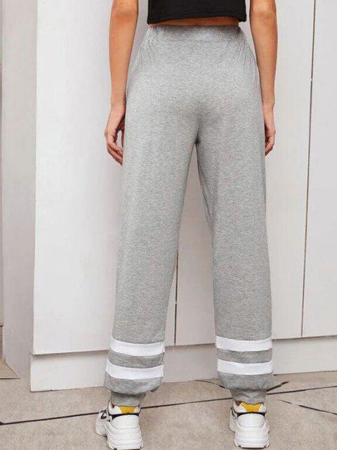 ladies Contrast Drawstring Jogger Pants - DARK GRAY XL Mobile