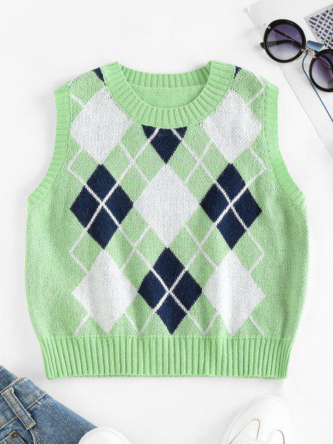 ladies ZAFUL Argyle Rib Trim Crop Sweater Vest - GREEN S Mobile