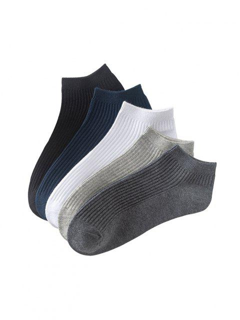 best 5 Pairs Solid Ribbed Ankle Socks Set - MULTI  Mobile