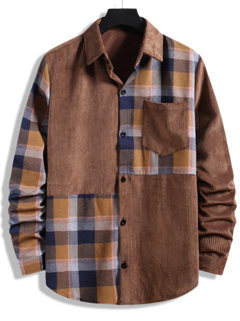 チェック柄のパッチワークポケットコーデュロイシャツ - 褐色 XXL Mobile