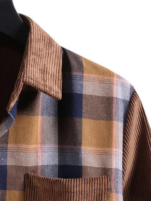 lady Plaid Patchwork Pocket Corduroy Shirt - BROWN M Mobile