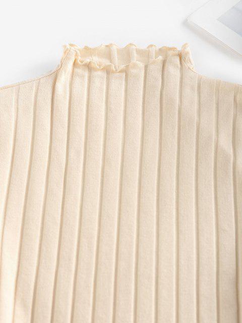 T-Shirt in Maglia a Costine con Taglio Ondulato di ZAFUL - Giallo chiaro S Mobile