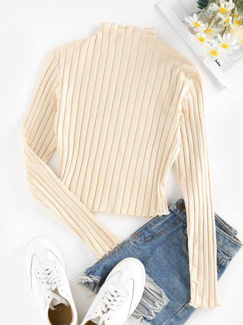 affordable ZAFUL Lettuce Trim Ribbed Knit T Shirt - LIGHT YELLOW XL Mobile