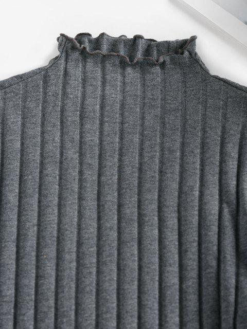 best ZAFUL Lettuce Trim Ribbed Knit T Shirt - DARK GRAY L Mobile