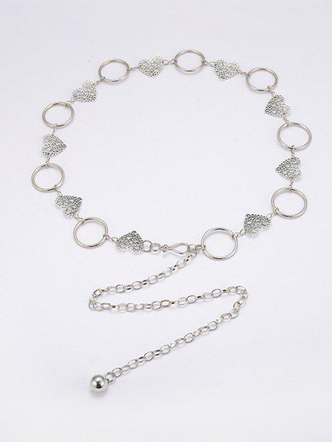 women Hollow Floral Heart Shape Waist Chain - SILVER  Mobile