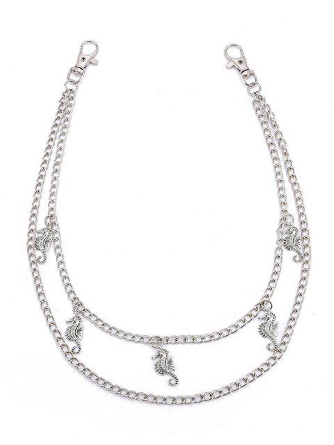 Sea Horse Pendant Layered Trousers Chain - فضة  Mobile