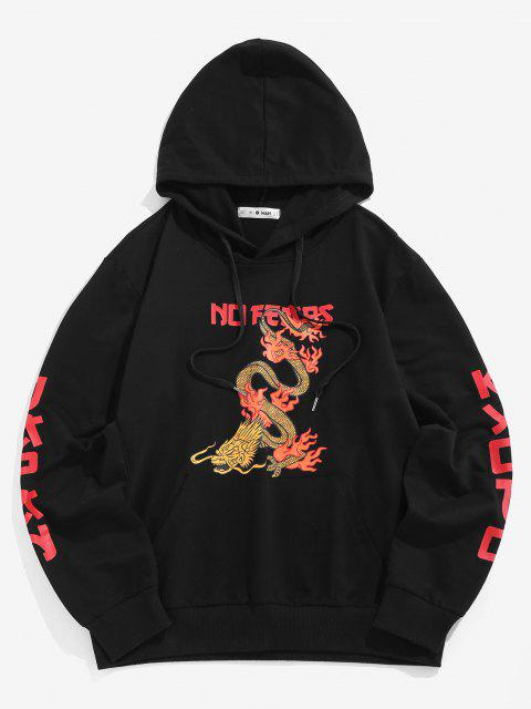 unique No Fears Chinoiserie Dragon Graphic Hoodie - BLACK XL Mobile