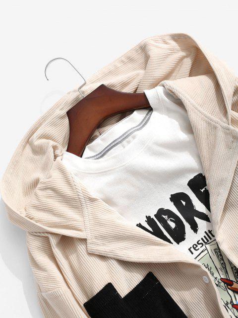 配色パネルポケットコーデュロイシャツ - ライトコーヒー L Mobile