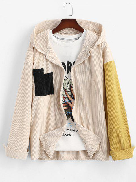 women's Colorblock Panel Pocket Corduroy Shirt With Hood - LIGHT COFFEE L Mobile