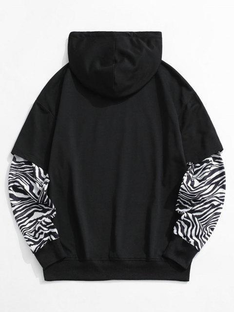 chic Zebra Print Faux Twinset Hoodie - BLACK M Mobile