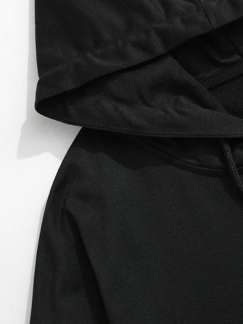 Sweat à Capuche Zèbre Imprimé Fausse Deux Pièces - Noir S Mobile
