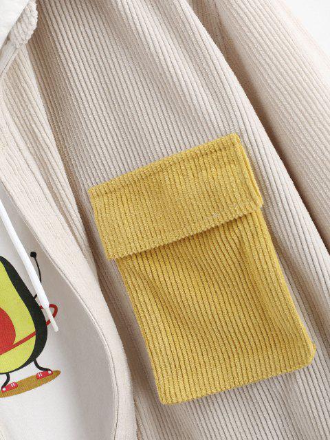 hot Corduroy Colorblock Pocket Long Sleeve Shirt - LIGHT COFFEE XL Mobile