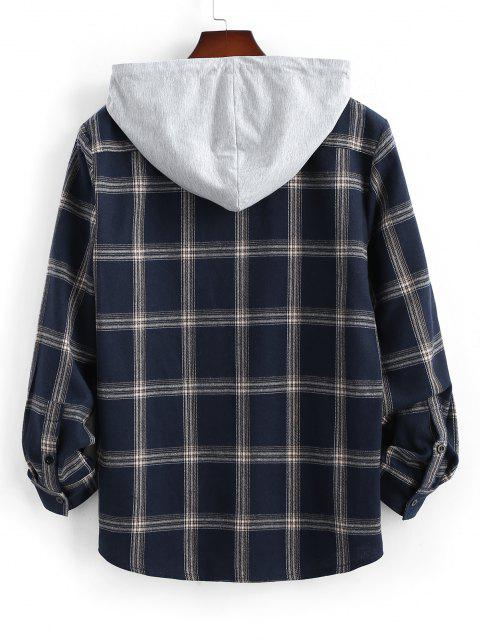 Long Sleeve Hooded Plaid Print Pocket Shirt - ازرق غامق 2XL Mobile