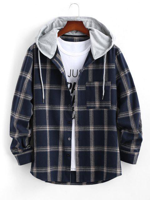 shop Long Sleeve Hooded Plaid Print Pocket Shirt - DEEP BLUE S Mobile