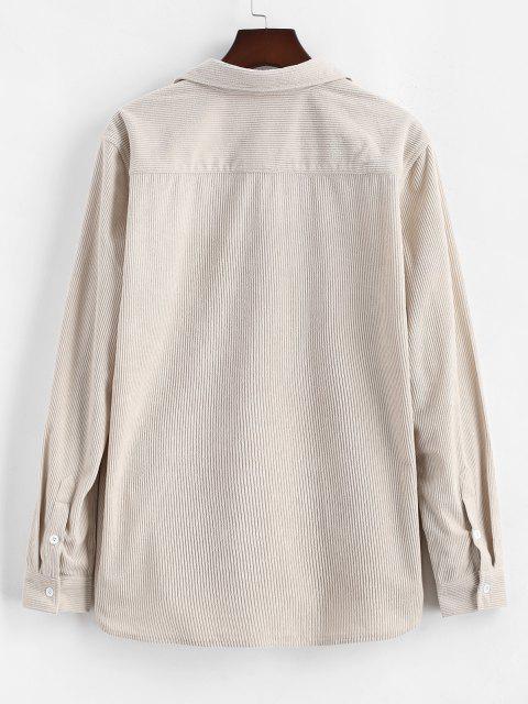 Camisa de Pana con Manga Larga y Bolsillo de Bloqueo de Color - café luz S Mobile