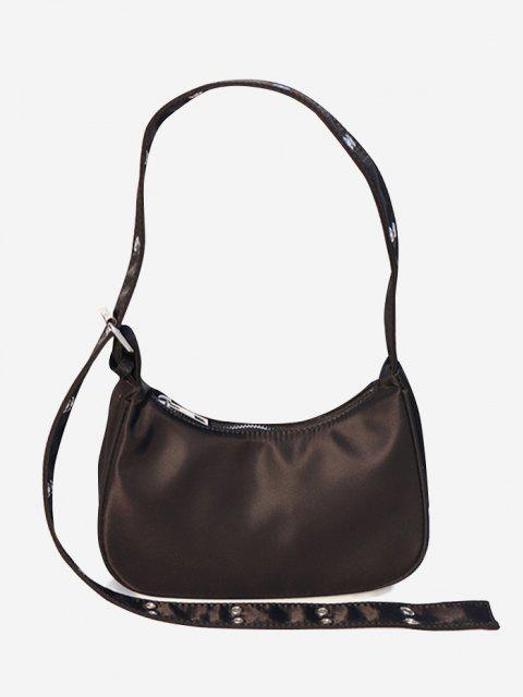 shop Simple Style Wide Strap Shoulder Bag - DEEP COFFEE  Mobile