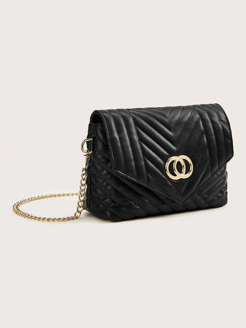 shops Double Circle Pattern Quilted Crossbody Bag - BLACK  Mobile