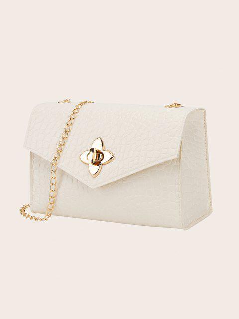 trendy Chain Lucky Clover Buckle Crossbody Bag - WHITE  Mobile