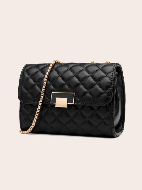 fashion Geometric Pattern Quilted Crossbody Bag - BLACK  Mobile