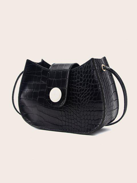 fancy Textured Button Crossbody Bag - BLACK  Mobile