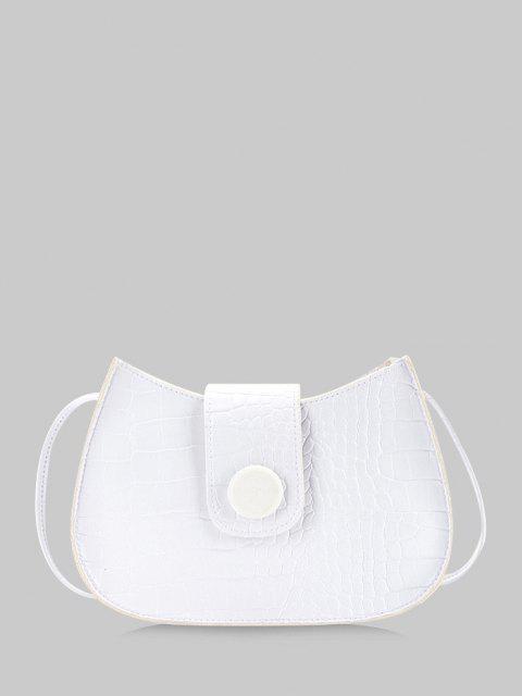 unique Textured Button Crossbody Bag - WHITE  Mobile