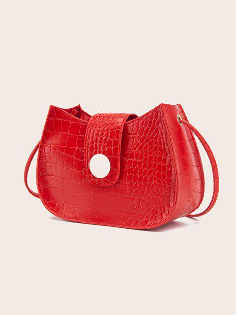 Textured Button Crossbody Bag - أحمر  Mobile