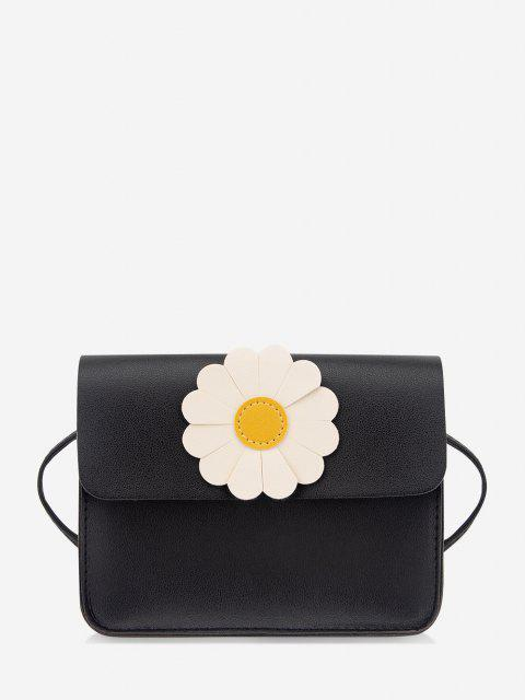 affordable Daisy Flower Pattern Crossbody Bag - BLACK  Mobile