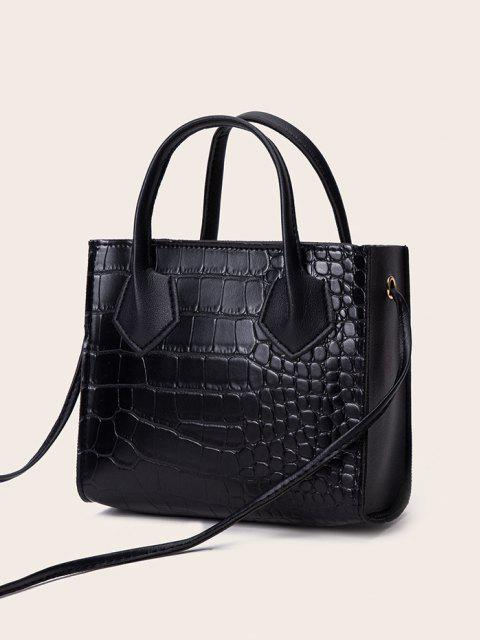 lady Square Solid Crossbody Bag - BLACK  Mobile