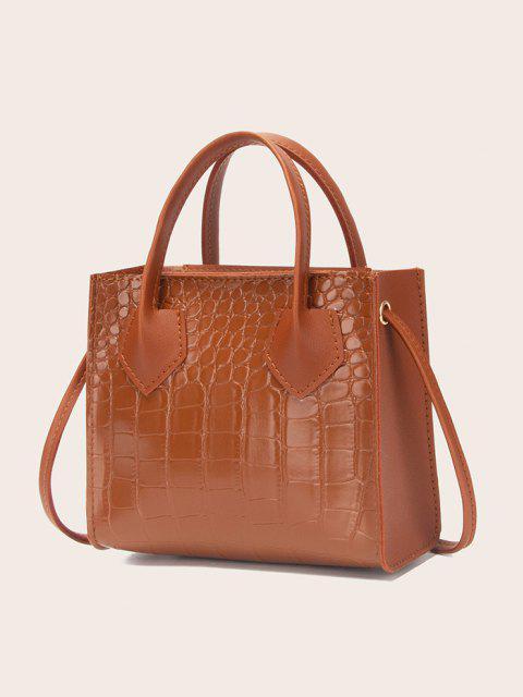 online Square Solid Crossbody Bag - LIGHT BROWN  Mobile