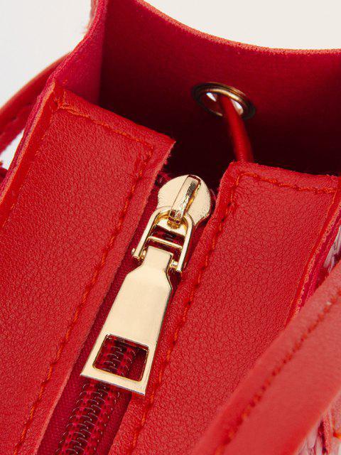 Borsa a Tracolla Quadrata in Tinta Unita - Rosso Rubino  Mobile