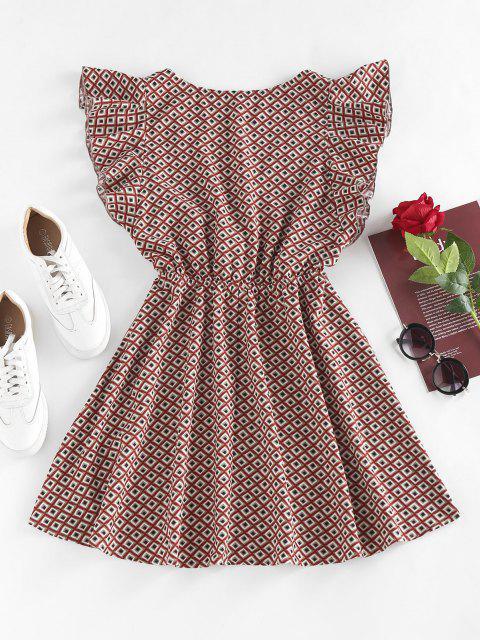women's ZAFUL Geo Butterfly Sleeve Plunging Mini Dress - MULTI XL Mobile