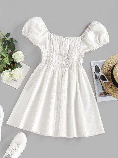 ladies ZAFUL Smocked Tie A Line Puff Sleeve Dress - WHITE M Mobile