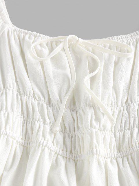 ZAFUL Gebundenes Kittel A-Linie Puff Ärmel Kleid - Weiß S Mobile