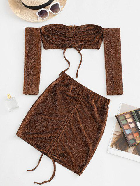 ladies Off Shoulder Metallic Thread Cinched Ruched Slinky Two Piece Dress - COFFEE M Mobile