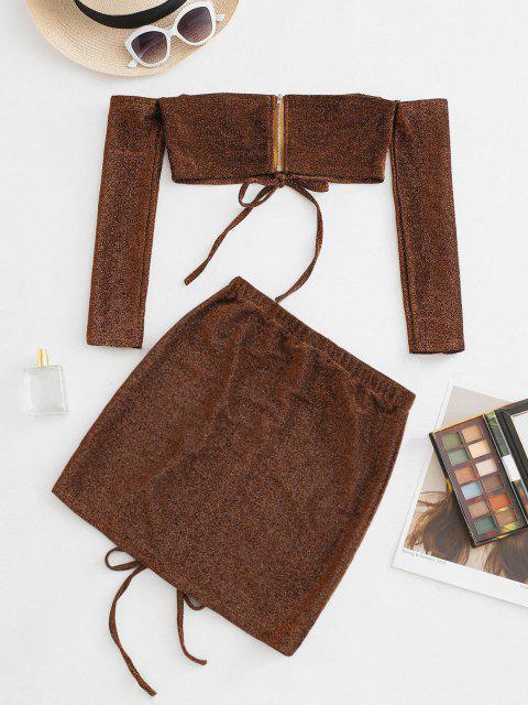 Schulterfreies Zweiteiliges Kleid mit Glitzerndem Metallfaden - Kaffee XL Mobile