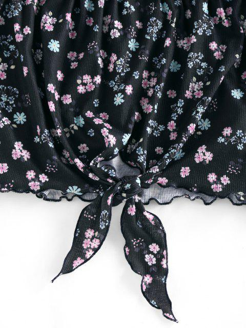 lady ZAFUL Ribbed Flower Off Shoulder Tied T Shirt - BLACK S Mobile
