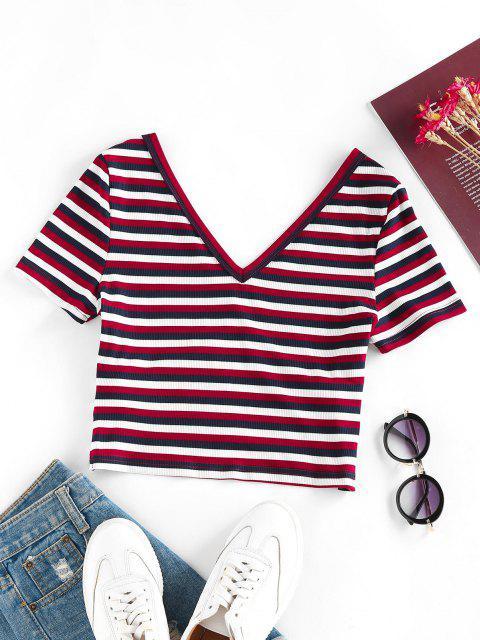 T-Shirt Corta Incrociata a Costine a Righe di ZAFUL - Multi Colori S Mobile