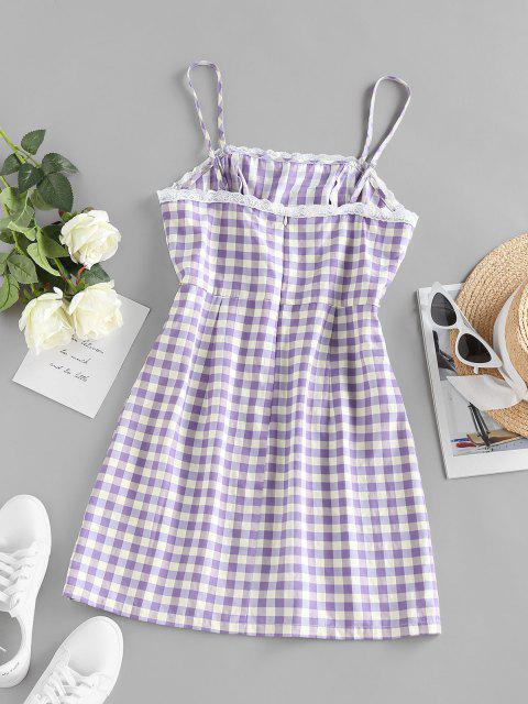ZAFUL Kariertes Muster Mini Slip Kleid - Helles Lila S Mobile