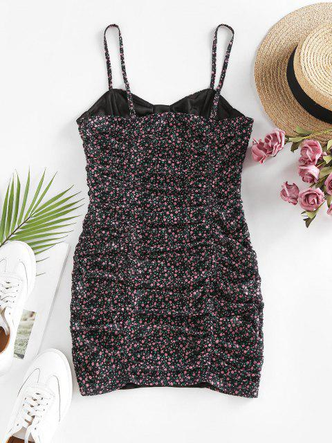 trendy ZAFUL Ditsy Floral Ruched Slip Bodycon Dress - BLACK L Mobile