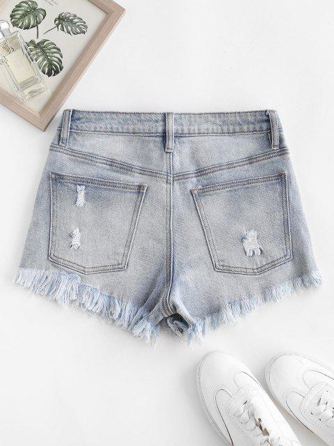women's Frayed Ripped Denim Shorts with Pocket - LIGHT BLUE M Mobile