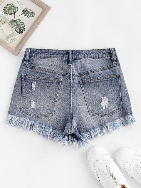 Frayed Ripped Denim Shorts with Pocket - أزرق M Mobile