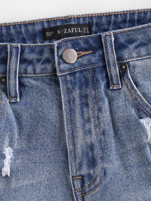 Shorts de Denim Desgarrador de Deshilachado con Bolsillo - Azul M Mobile