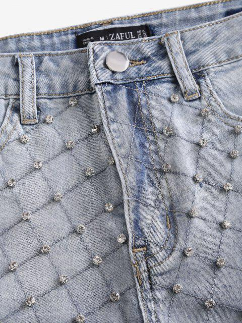 fashion Rhinestone Frayed Light Wash Denim Shorts - LIGHT BLUE XL Mobile