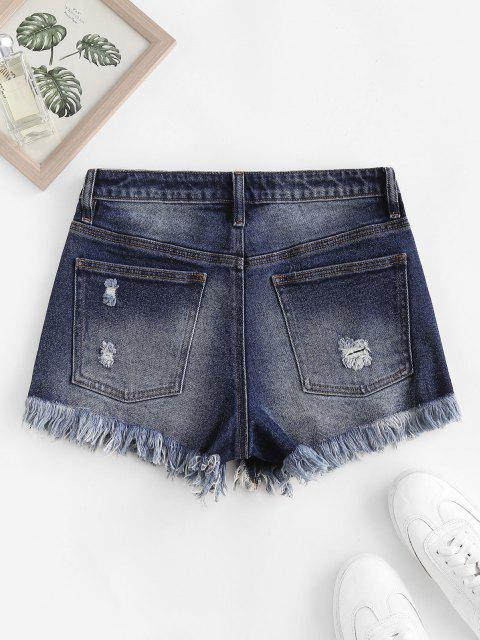 unique Frayed Ripped Denim Shorts with Pocket - DEEP BLUE M Mobile