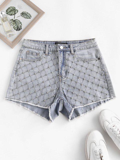 online Rhinestone Frayed Light Wash Denim Shorts - LIGHT BLUE S Mobile
