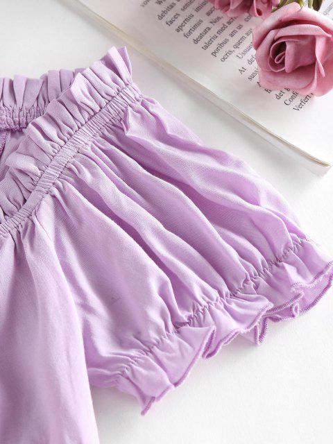 outfits ZAFUL Ruffle Off Shoulder Smocked Keyhole Blouse - LIGHT PURPLE S Mobile