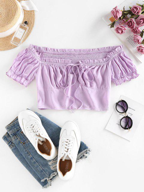 online ZAFUL Ruffle Off Shoulder Smocked Keyhole Blouse - LIGHT PURPLE L Mobile