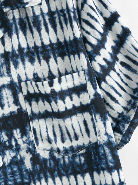 ZAFUL Krawattenfärbender Druck Taschen Kurzarm Hemd - Tiefes Blau XL Mobile