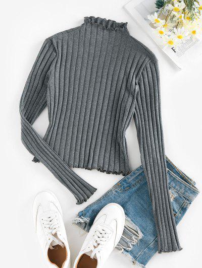 ZAFUL Lettuce Trim Ribbed Knit T Shirt - Dark Gray S